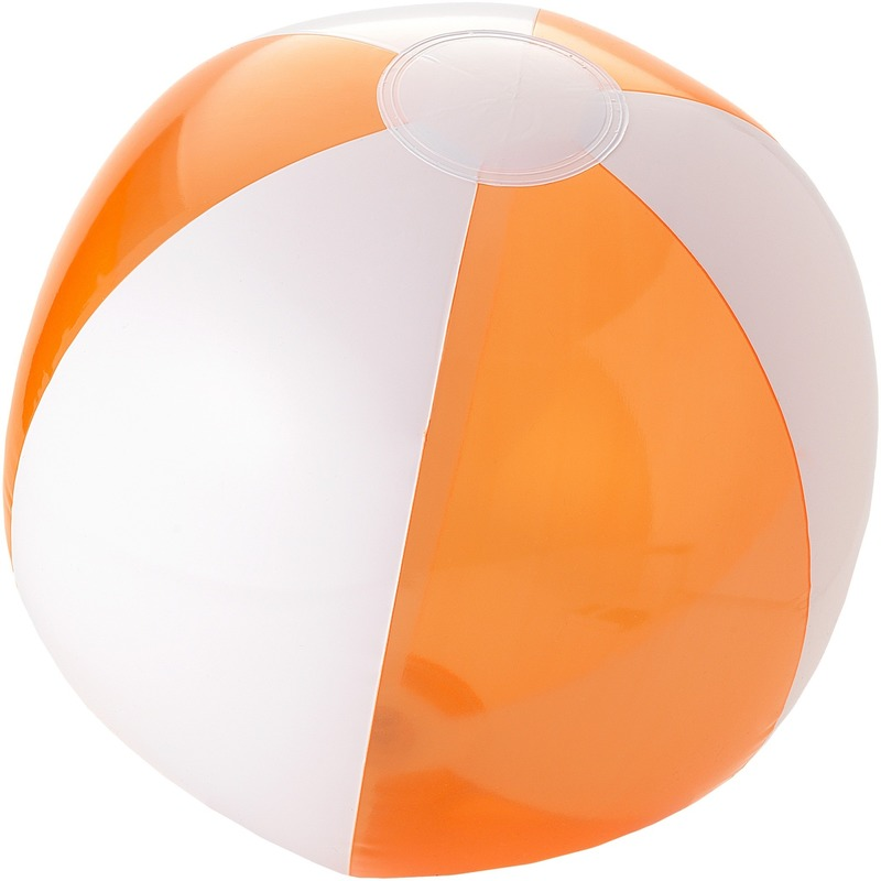 Opblaas oranje witte strandballen 30 cm waterspeelgoed