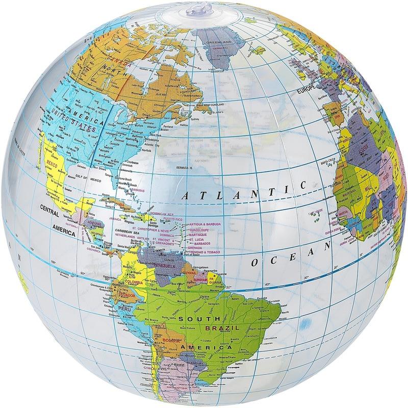 Opblaas wereldbol aarde strandbal 26 cm waterspeelgoed