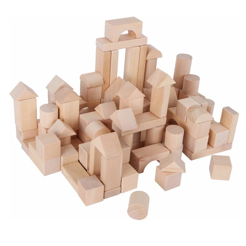 100x stuks houten speelgoed blokken