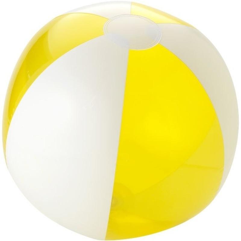 Opblaas geel witte strandballen 30 cm waterspeelgoed