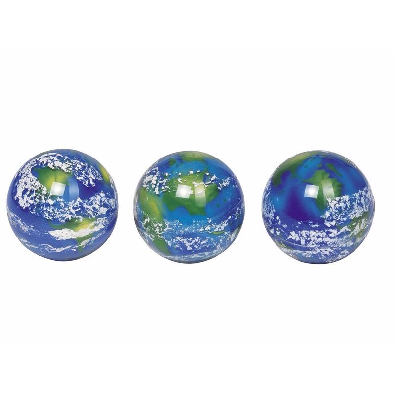 1x speelgoed stuiterballen planeet aarde 5 cm