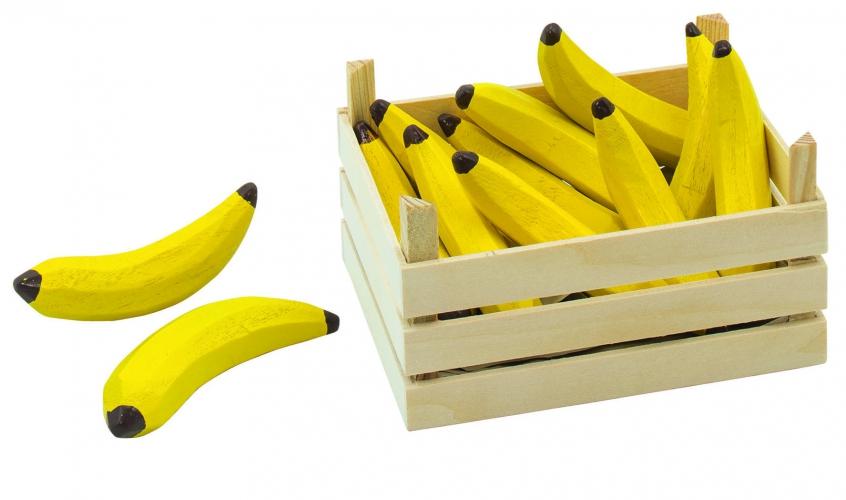 Speelgoed bananen in houten kist 13 x 10 cm