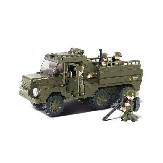 Sluban leger speelgoed vrachtwagen 31 cm bouwsteentjes