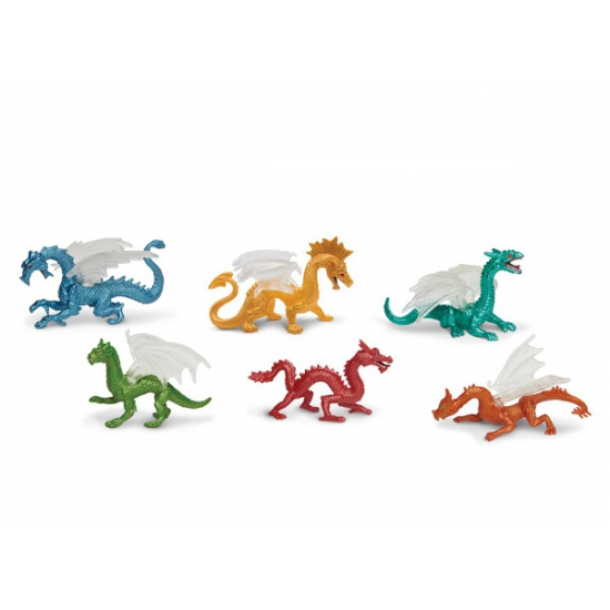 Plastic speelgoed draken 6 stuks