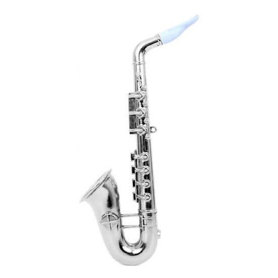 Zilveren speelgoed saxofoon 37 cm