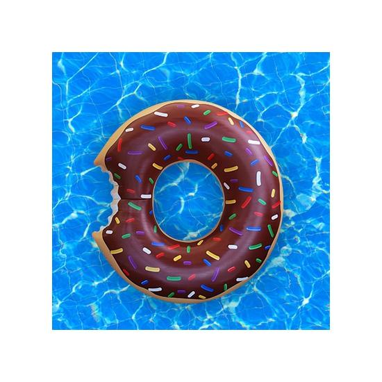 Waterspeelgoed xxl bruine donut zwemband zwemring 122 cm