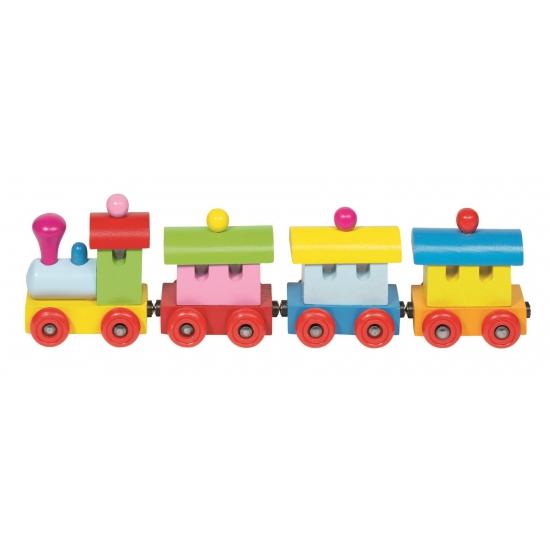 Houten speelgoed trein met wagons