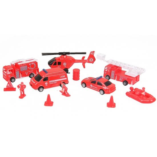 Rode speelgoed brandweer voertuigen 13 delig