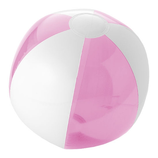Opblaas roze witte strandballen 30 cm waterspeelgoed