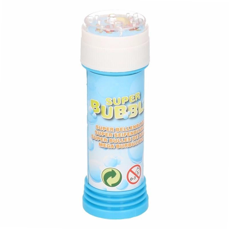 1x kinder bellenblaas super bubbles 50 ml gekleurd flesje