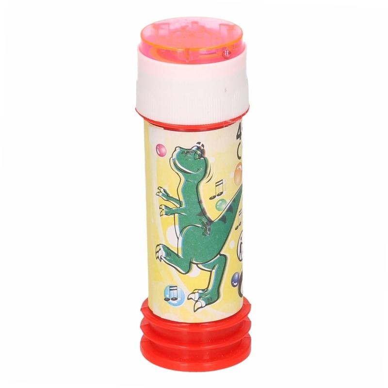 1x kinder bellenblaas dinosaurus 60 ml gekleurd flesje