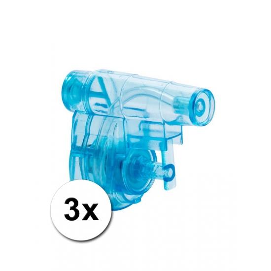 3 goedkope kleine waterpistolen blauw 5 cm