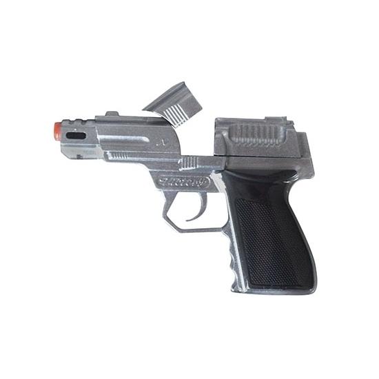 Zilveren speelgoed pistool 8 shots