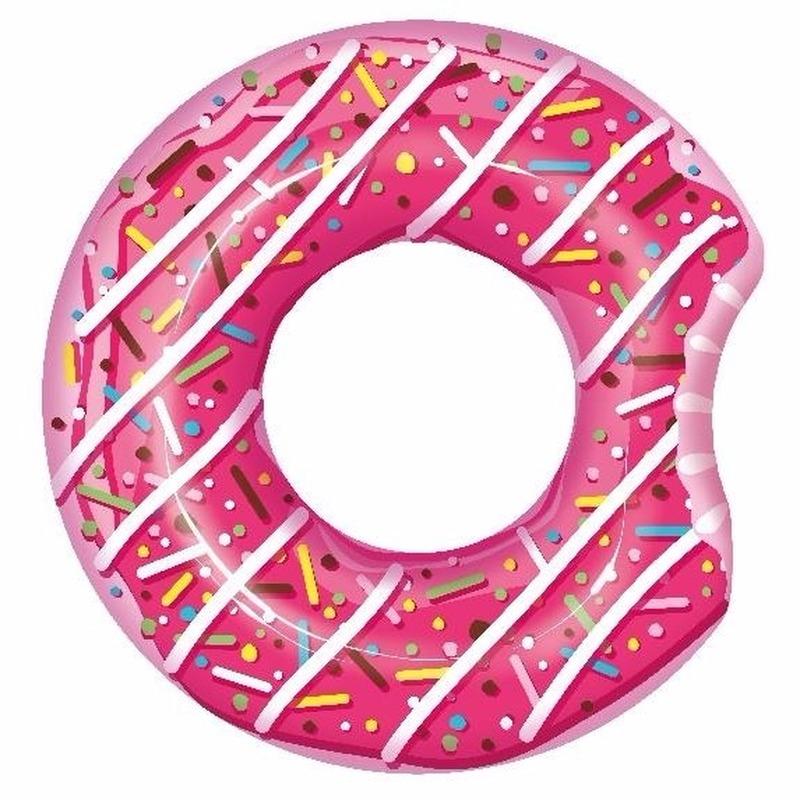 Speelgoed roze opblaas donut 107 cm