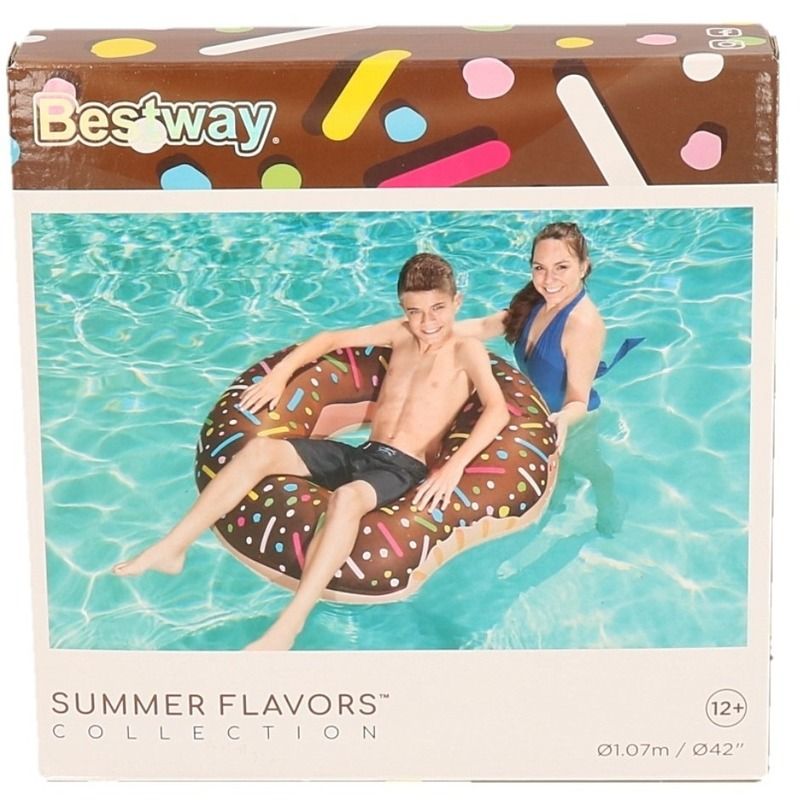 Speelgoed chocolade opblaas donut 107 cm