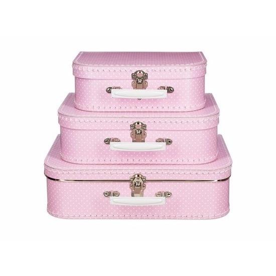 Kinderkoffertje roze witte stip 25 cm
