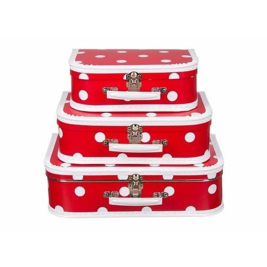 Kinderkoffertje rood witte stip 30 cm