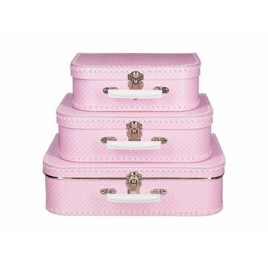 Kinderkoffertje roze witte stip 35 cm