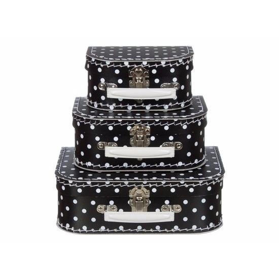 Kinderkoffertje zwart met polkadots 25 cm