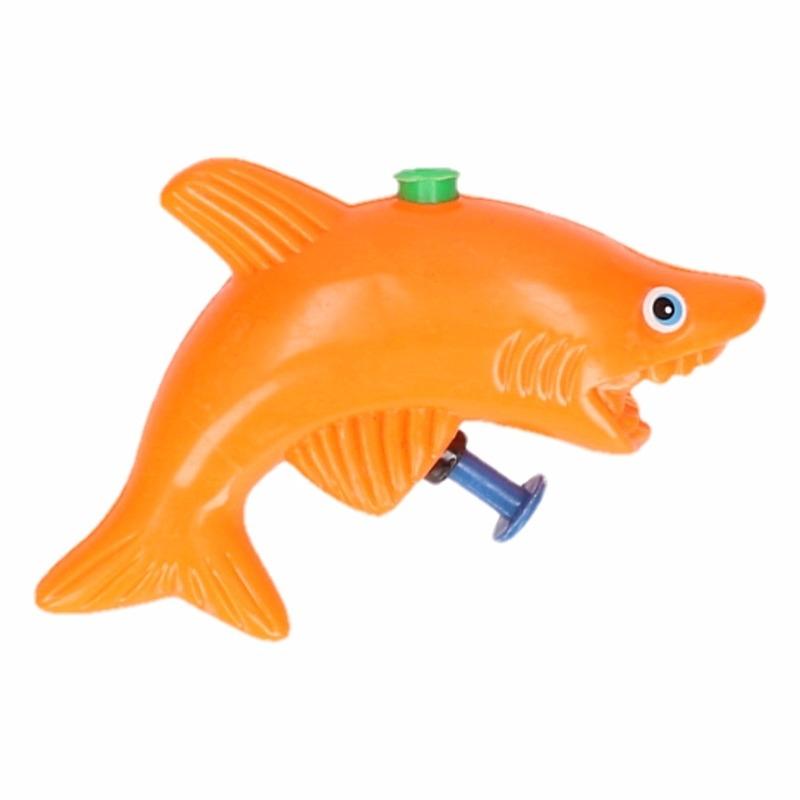 Speelgoed waterpistool haai oranje 9 cm