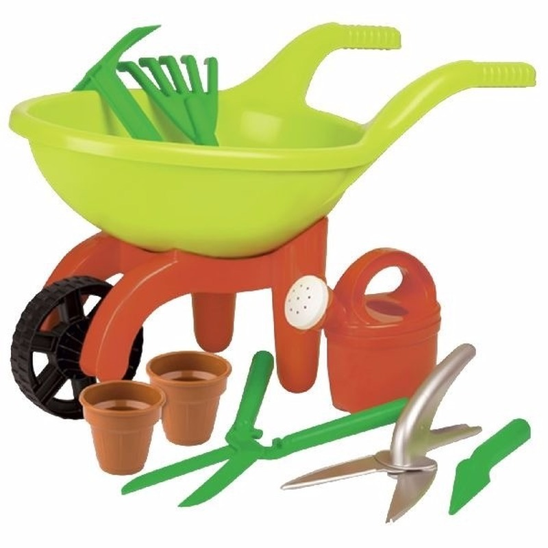 Speelgoed kruiwagens met tuingereedschap