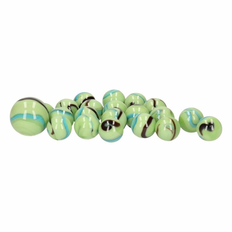 Glazen knikkers speelgoed 21x green butterflys