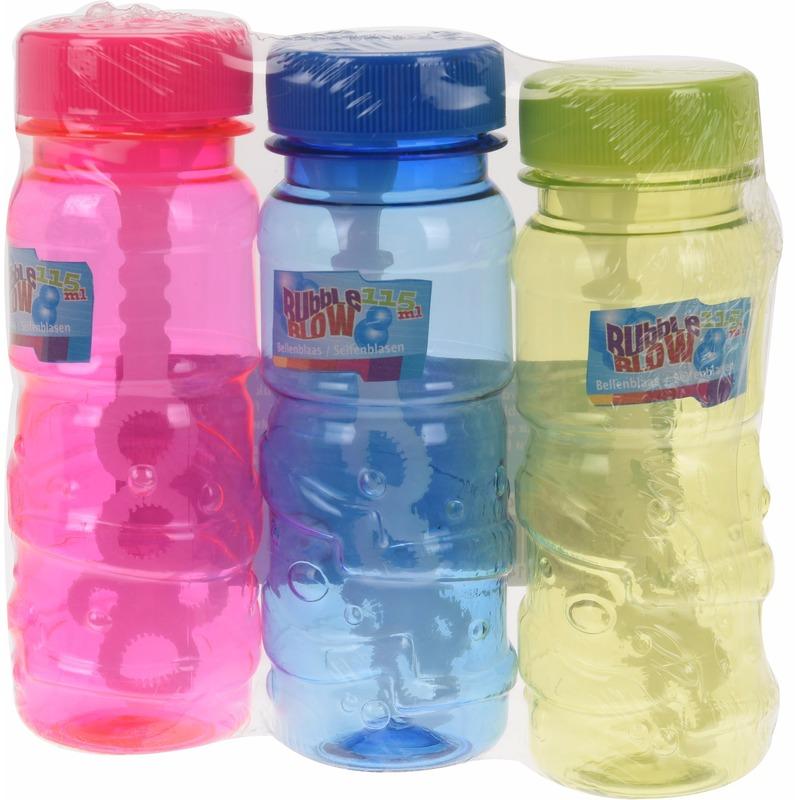 Speelgoed gekleurde bellenblaas flesjes 3 stuks x 115ml
