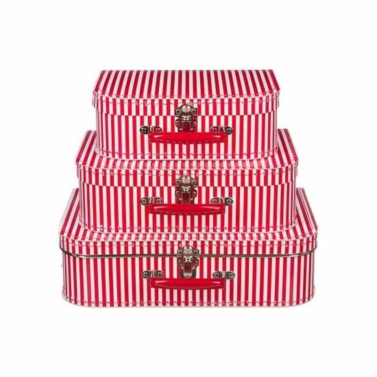 Kraamkado koffertje rood gestreept 30 cm