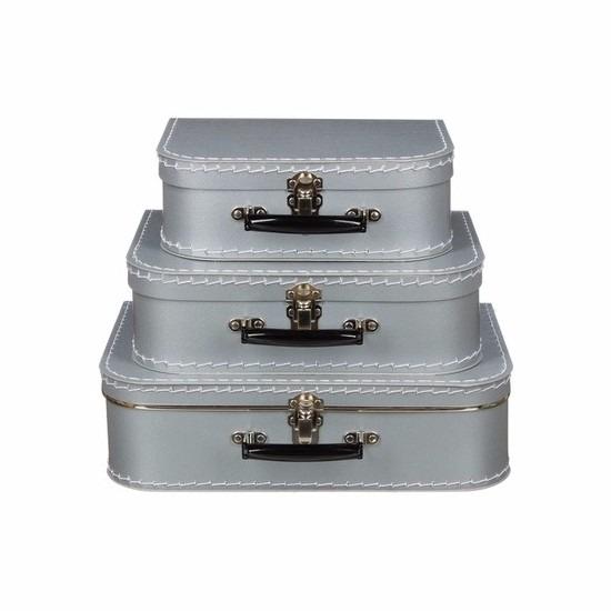 Decoratie koffertje zilver 35 cm