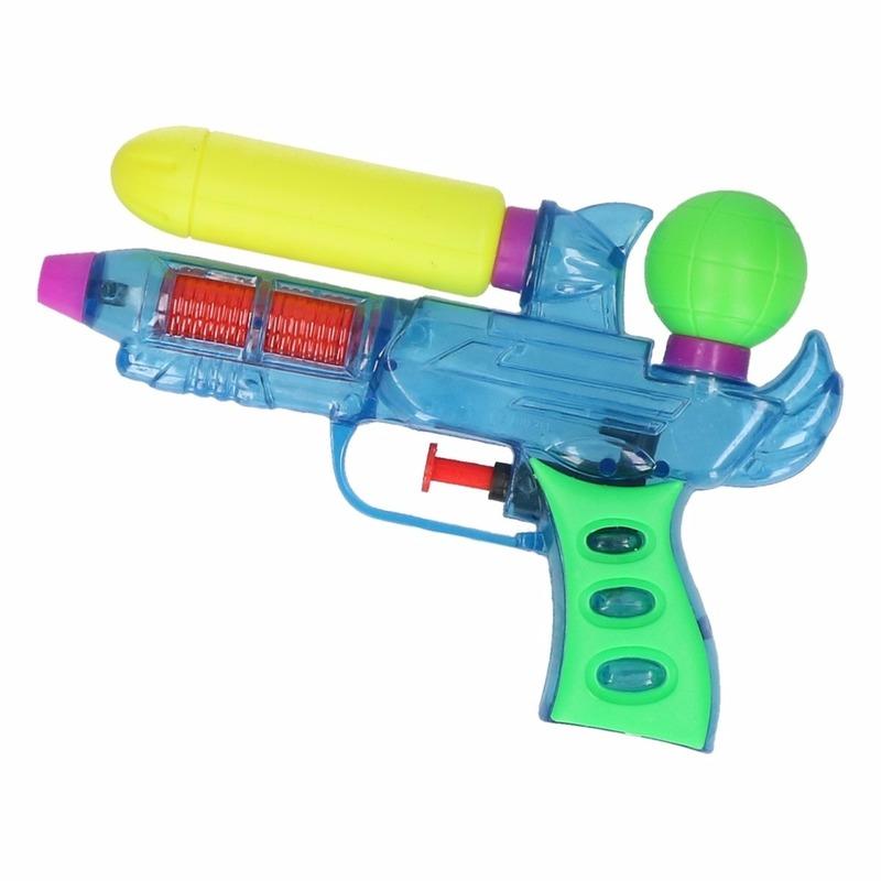 Mini waterpistolen blauw 18 cm