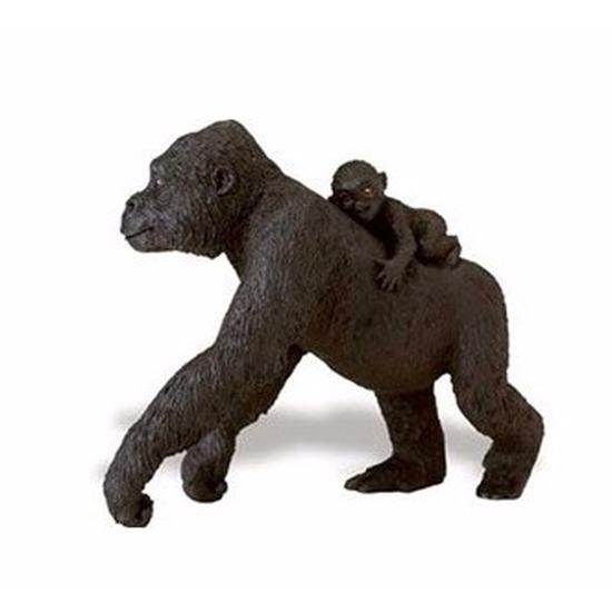 Speelgoed nep gorilla met baby op haar rug 11 cm