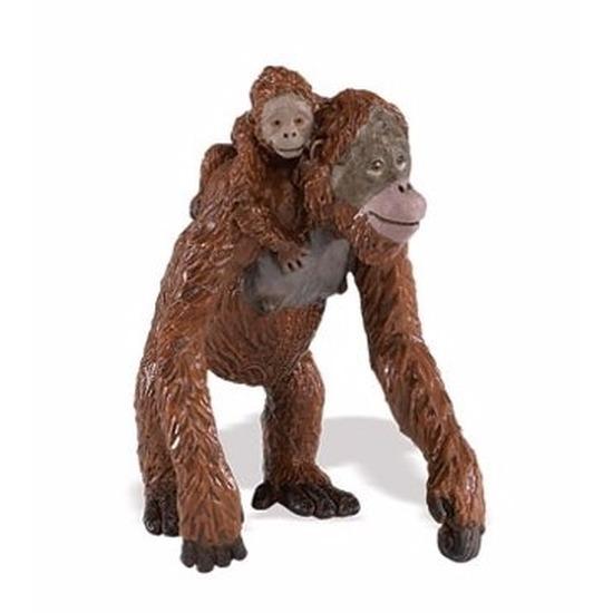 Speelgoed nep orang oetan aap met baby 9 cm