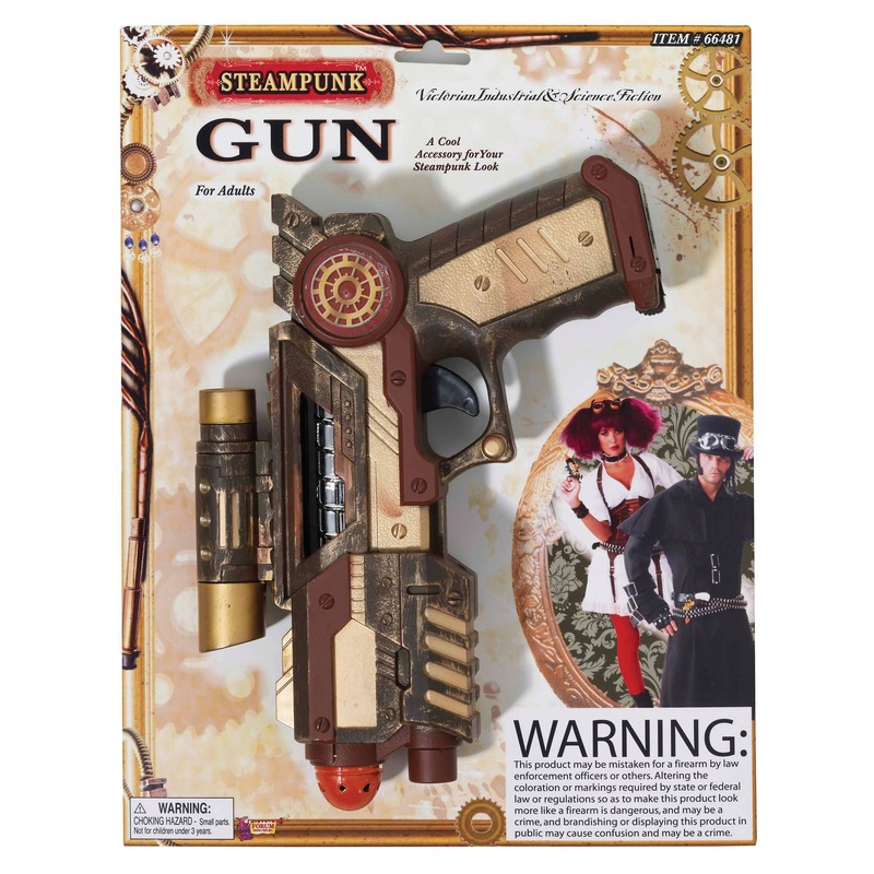 Verkleed steampunk thema speelgoed wapen 25 cm