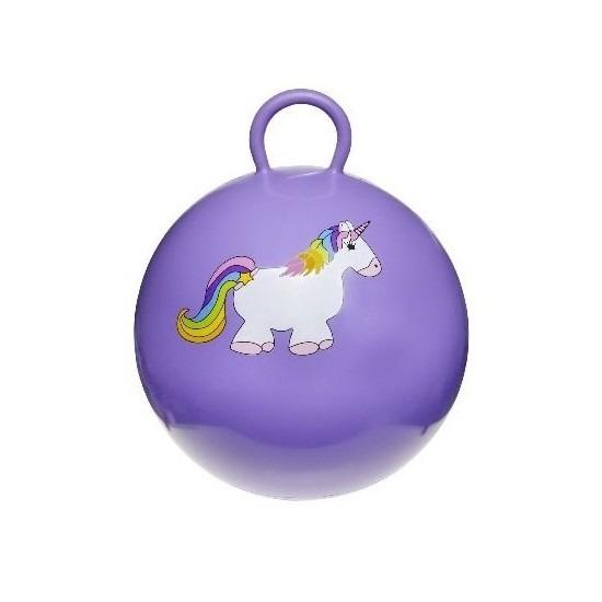 Speelgoed skippybal met eenhoorn paars 46 cm