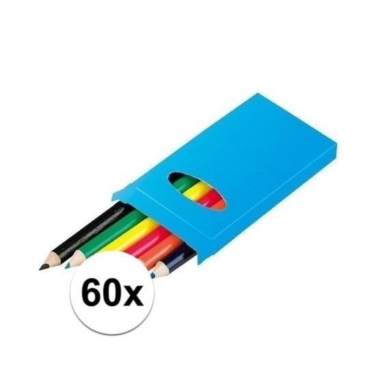 60x 6 kleurpotloden in een doosje