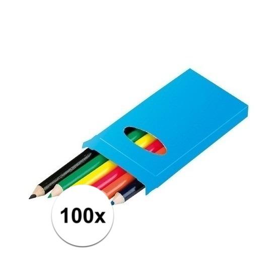 100x 6 kleurpotloden in een doosje