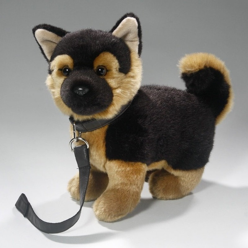 Speelgoed duitse herder puppy hondje knuffel aan lijn 25 cm