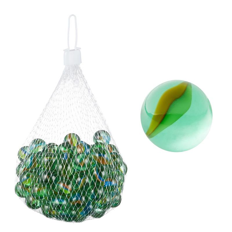Glazen speelgoed knikkers groen in netjes 1 kg