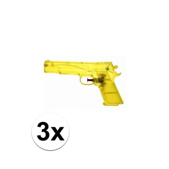 3 stuks voordelige waterpistolen weggevertjes geel