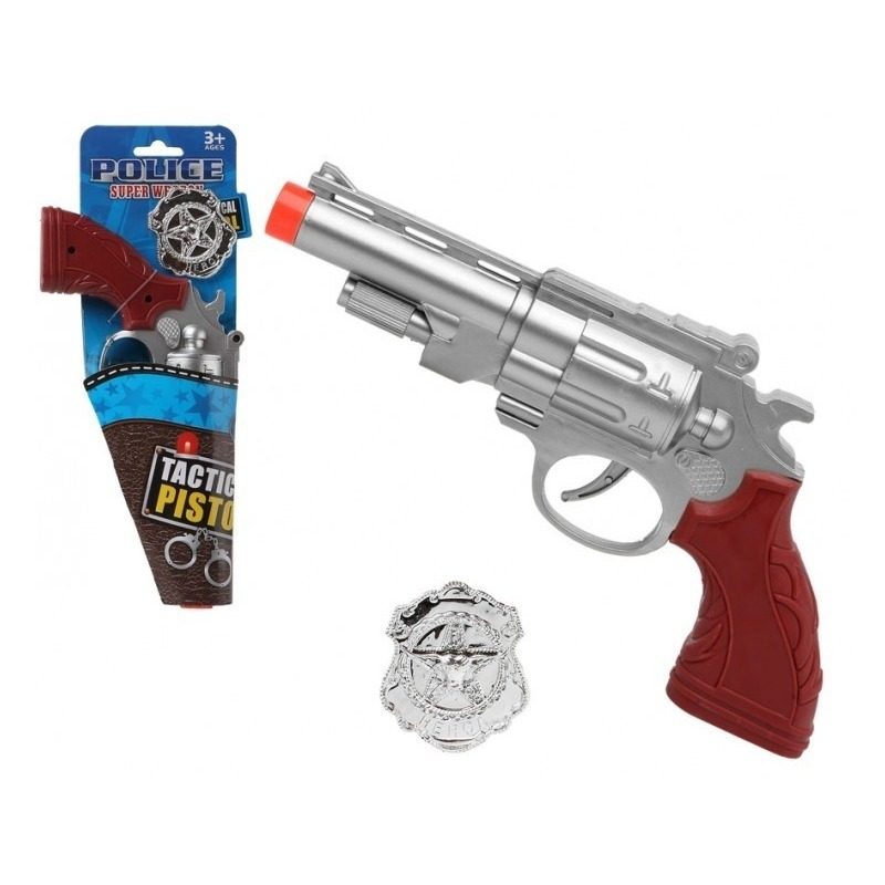 Speelgoed pistool politie zilver 27 cm
