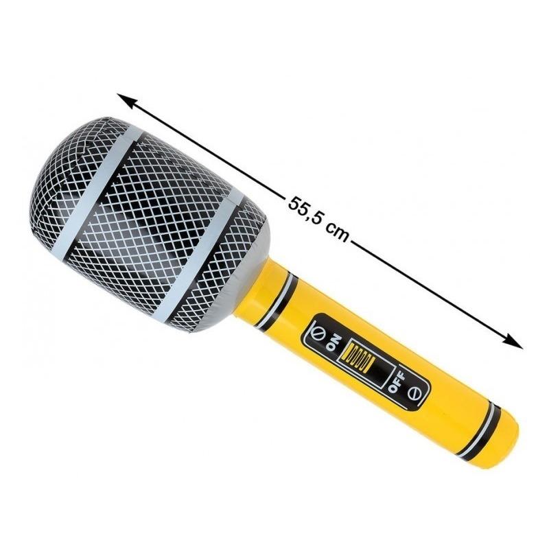 Opblaasbare microfoon geel zwart 55 cm