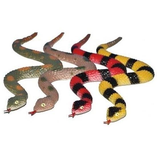 Plastic speelgoed ratelslangen 4 stuks 29 cm
