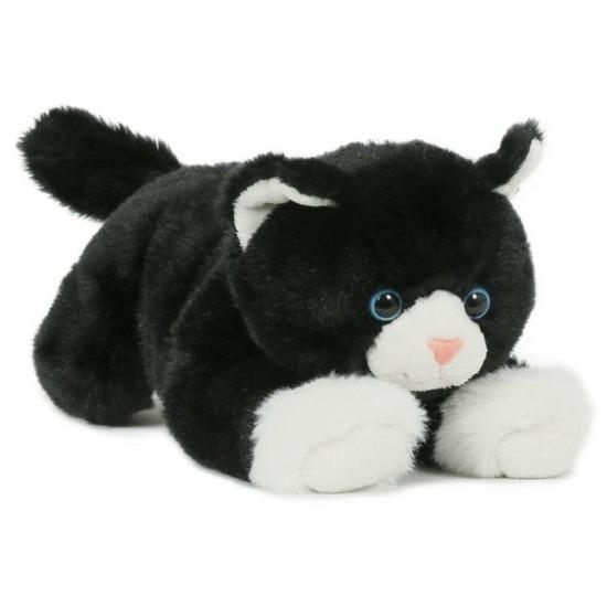 Pluche speelgoed poes kat knuffeldier zwart wit 25 cm