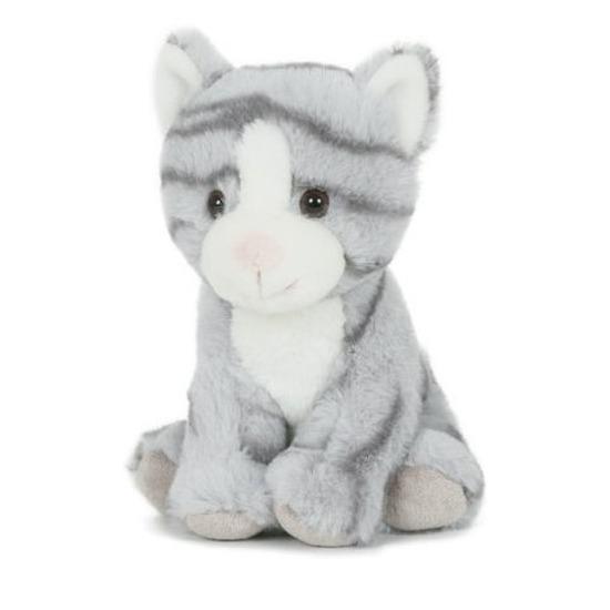 Pluche speelgoed poes kat knuffeldier grijs 18 cm