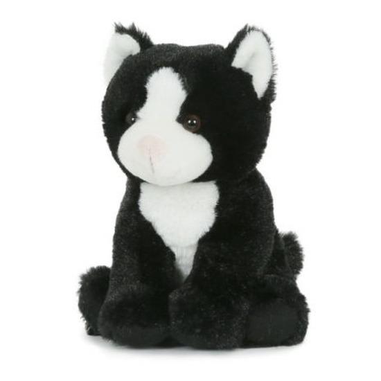 Pluche speelgoed poes kat knuffeldier zwart wit 18 cm