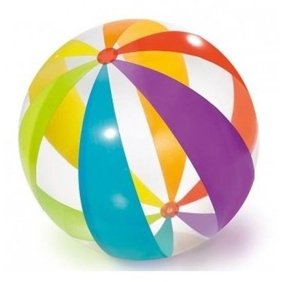 Grote opblaasbare doorzichtige strandbal met kleuren 82 cm waterspeelgoed