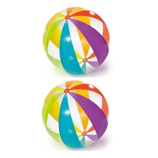 2x grote opblaasbare doorzichtige strandballen met kleuren 82 cm waterspeelgoed