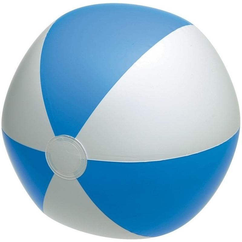 1x waterspeelgoed blauw witte strandbal 28 cm
