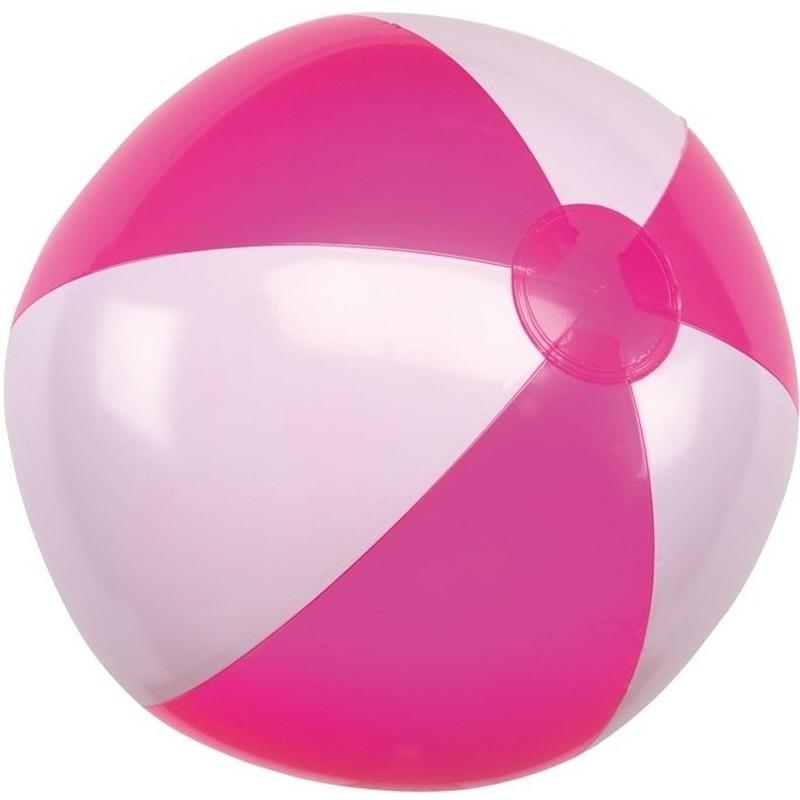 1x waterspeelgoed roze witte strandbal 28 cm