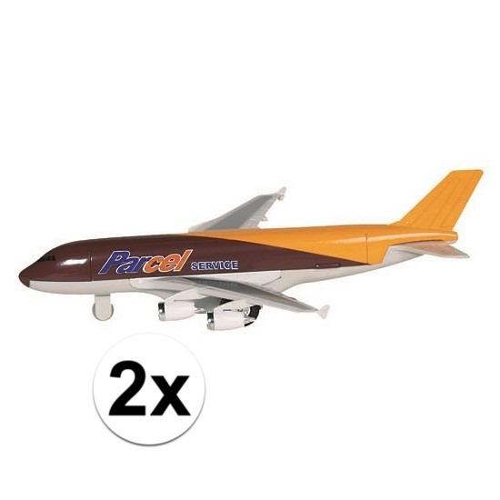 2x speelgoed vracht vliegtuigje metaal 19 cm